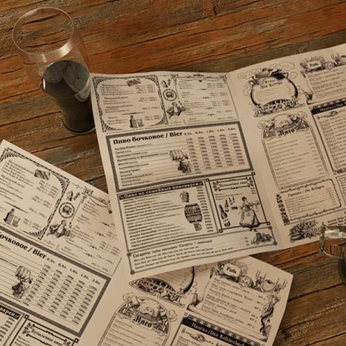 Дизайн меню в виде листов